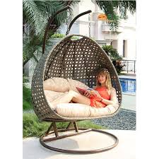 Hanging swing chair Cushion Superior Double Seat Wicker Hanging Swing Egg Chair Patio Furniture Latte Color Indoor Sofa Factory Alfresconova Superior Double Seat Wicker Hanging Swing Egg Chair Patio Furniture
