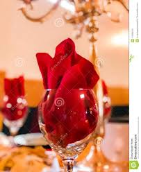 Napkin In Glass Design Red Dinner Napkin On A Crystal Glass Stock Photo Image Of
