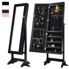 mirrored jewelry cabinet armoire stand tilt organizer storage w led light black