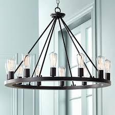 the lacey 28 wide round black chandelier black chandelier rustic concerning edison light chandelier ideas