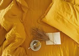 3 piece linen bedding set in mustard