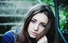 Wallpaper look, girl, brown hair, blue ...