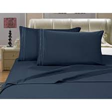 elegant comfort 1500 series 4 piece navy blue triple marrow embroidered pillowcases microfiber queen size bed sheet set v01 q navy the home depot