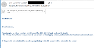 Email Deliver Payload Email Scam Spoofs Dhl