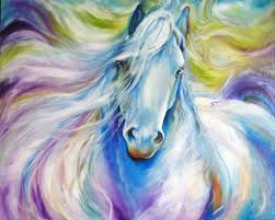 2018 dream horse oil painting on canvas abstract white horse oil painting for bed room decor beautiful horse animal painting decor from bigag