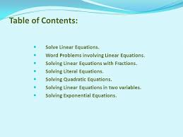 table of contents solve linear equations word problems involving linear equations