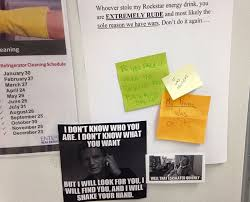 Energy drink stolen from office fridge sparks epic offline meme battle via Relatably.com