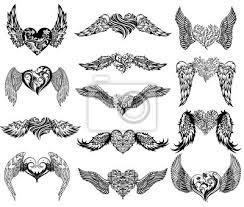 Fototapeta Srdce S Křídly Tetování Sady