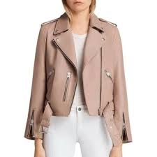 details about all saints balfern blush pink leather biker jacket size us 8