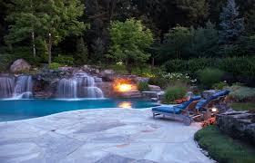pool design with grey crab orchard stone patio