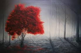 landscape painting red tree by clark