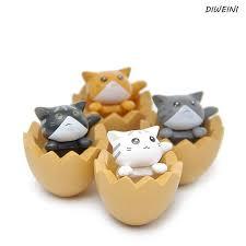 4 pcs set hot cute eggshell cat