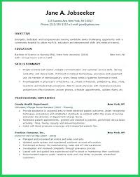 Example Of Entry Level Resume Simple Nursing Resume Objectives For Entry Level Resumes New Graduate Nurse