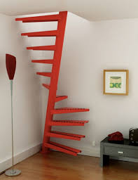 ... Cool Staircase Color Ideas : Cool Modern Minimalist Staircase Design  For Small Room With Red Color ...