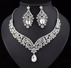 <b>Elegant</b> Austrian Crystal Rhinestone Bib Necklace <b>Earrings Set</b> ...