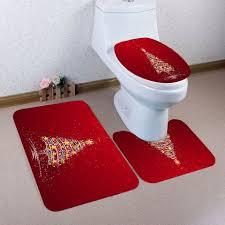 colorful stars tree printed 3pcs bath toilet mats set red