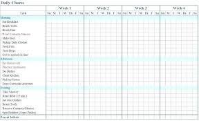 Toddler Chore Chart Template Chore Calendar Weekly Chore Chart Template Free Chore Chart