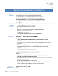Maintenance Technician Resume Objective Lovely Maintenance Technician Resume  Samples Templates and Tips Online