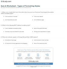 Quiz Worksheet Types Of Formatting Styles Studycom