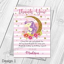 Personalised Birthday Invitations For Kids Personalised Unicorn Kids Birthday Party Invitations Thank You
