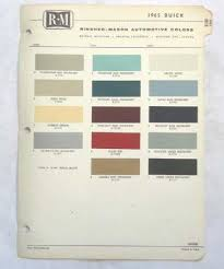 Find 1965 Buick R M Color Paint Chip Chart All Models