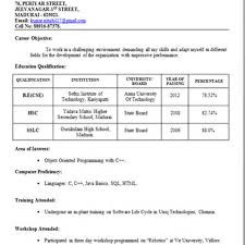 Resume Format For Freshers Bank Job Free Resume Example And