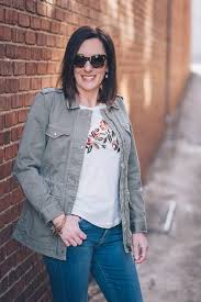 how to elevate a classic utility jacket for spring lucky brand bridgette high rise skinnies