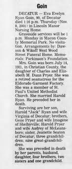 Eva Evelyn Pryer Ryan Goin Nov 10-2001 - Newspapers.com