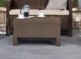keter corfu resin coffee table all weather plastic patio furniture brown rattan com