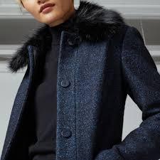 warehouse swing faux fur collar coat navy 4