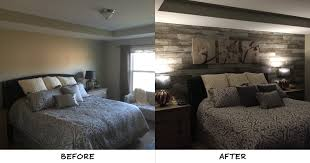 daniel transformed this bedroom by adding a distressed barn wood accent wall and we can t get enough of the new look installed on the wall behind the