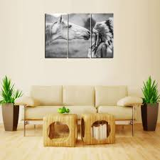 wall art paintings for living room india original oil ink print horse and indian girl