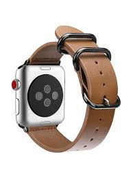 fintie for apple watch band 42mm genuine leather replacement strap bands stainless buckle apple watch series 3 2 1 brown com