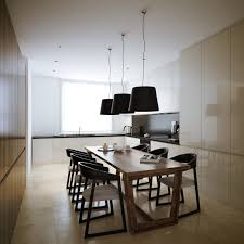 modern minimalist white kitchen design with wood wall feats wood dining table with black pendant ls