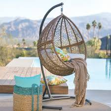 island bay tanna tear drop resin wicker egg chair with cushion and stand com