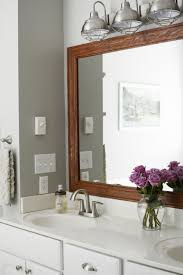 industrial lighting bathroom. Industrial Lighting Bathroom. Wood Frame Around Bathroom Mirror. Lighting. Paint Color - H