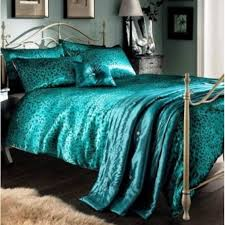 leopard teal king size duvet cover 5 pcs luxury bed set
