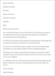 Rental Lease Letters Rental Lease Termination Letter From Tenant End Of To Landlord