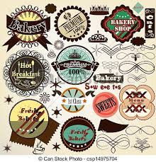 Vintage Food Labels Collection Of Vintage Vector Food Labels Bakery And Sweets Vector