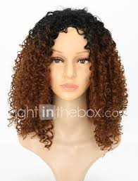 Light Brown Shoulder Length Wig Synthetic Wig Afro Afro Curly With Bangs Wig Short Medium