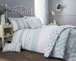 cotton rich garden flower design duvet set and bedding range in duck egg grey