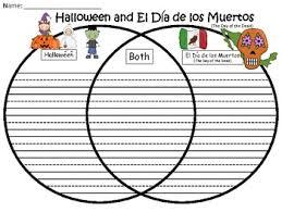 Dia De Los Muertos And Halloween Venn Diagram A Halloween El Dia De Los Muertos Venn Diagram Compare And Contrast