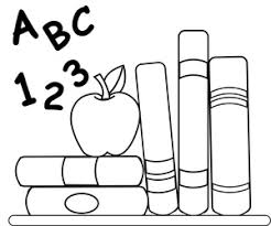 1 teacher apple clipart. school clipart image: coloring page of schoolbooks, an apple for teacher and abcs 1
