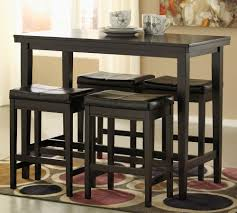 Counter Height Dining Set with Backless Stools Black D250 t=