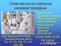 Презентация на тему Техническое обслуживание тракторов МТЗ  15 Слив