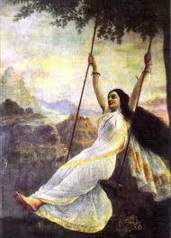 mohini on a swing by raja ravi varma