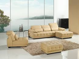 modern cream faux leather sectional sofa