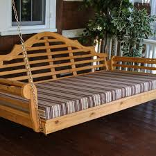 a l furniture malboro 4 foot cedar outdoor swing bed with cushion