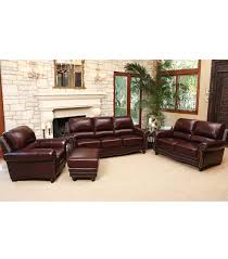 Living Room Leather Sets Living Room Sets Annabelle 4 Piece Leather Set