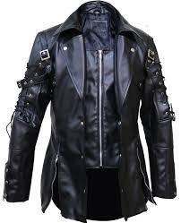steampunk gothic fashion matrix black leather jacket coat